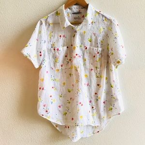 MERONA fruit print lightweight popover blouse XL